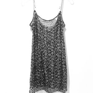 Free People black and silver sequin slip